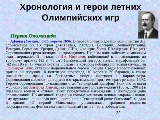 Хронология и герои летних Олимпийских игр Первая Олимпиада Афины (Греция), 6-...