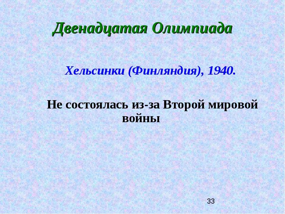 Двенадцатая Олимпиада Хельсинки (Финляндия), 1940. Не состоялась из-за Второй...