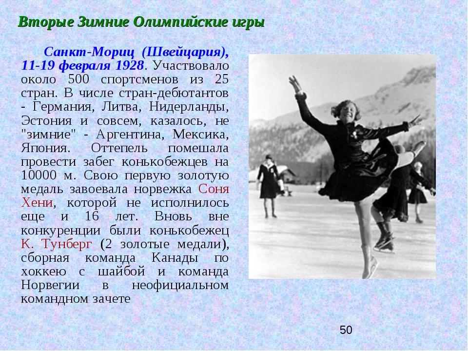 Вторые Зимние Олимпийские игры Санкт-Мориц (Швейцария), 11-19 февраля 1928. У...