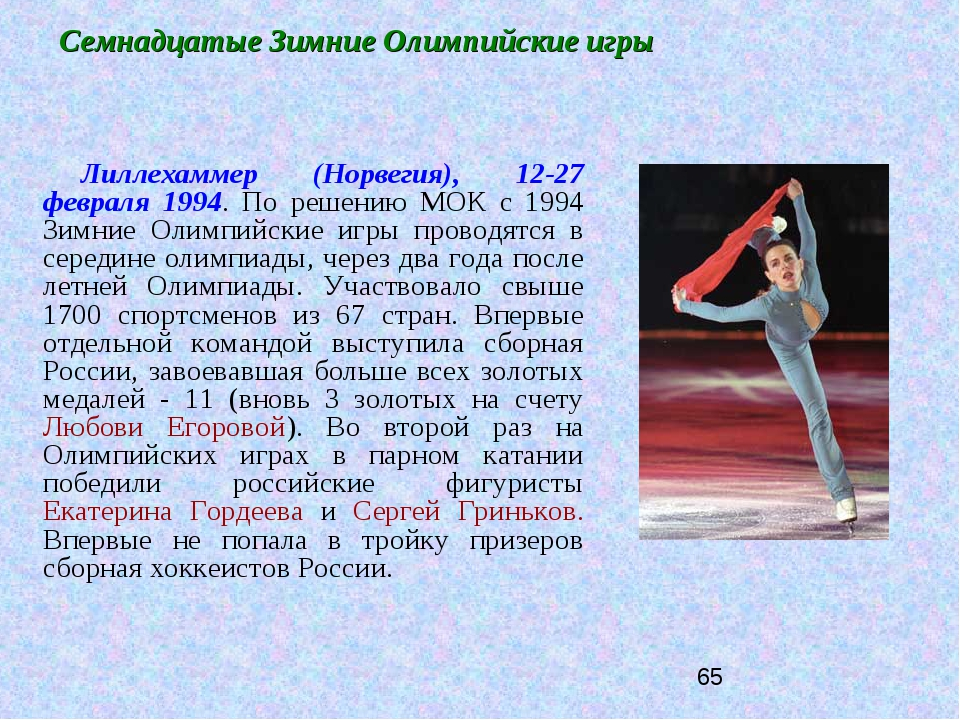 Семнадцатые Зимние Олимпийские игры Лиллехаммер (Норвегия), 12-27 февраля 199...