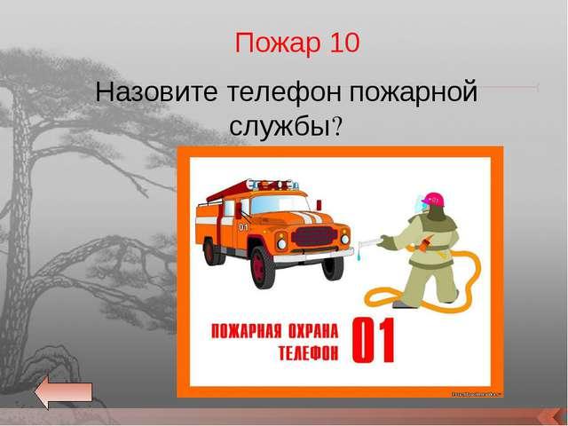 Назовите телефон пожарной службы? Пожар 10