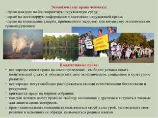 Экологические права человека: - право каждого на благоприятную окружающую ср