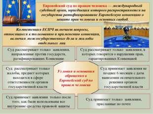Условия и основания обращения в Европейский суд по правам человека Суд рассм