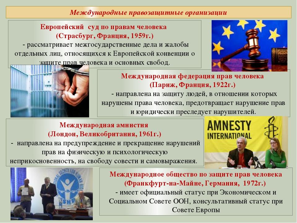 Международные правозащитные организации Европейский суд по правам человека (...