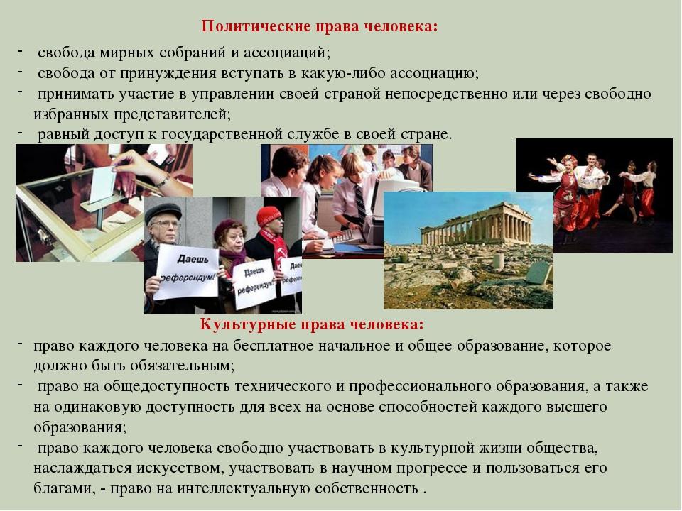 свобода мирных собраний и ассоциаций; свобода от принуждения вступать в каку...