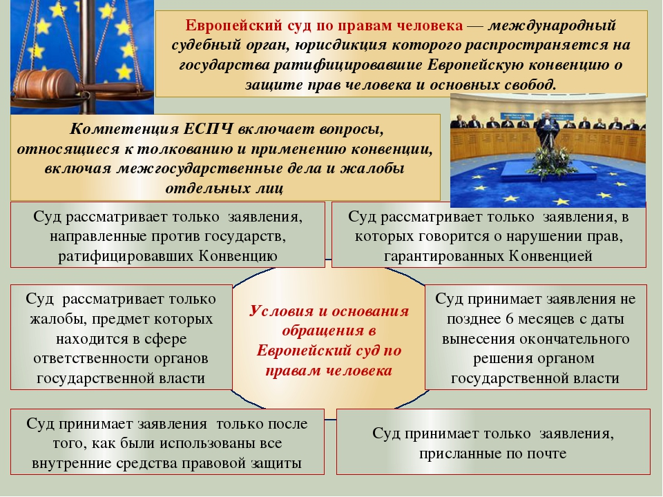 Условия и основания обращения в Европейский суд по правам человека Суд рассм...