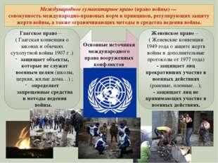 Международное гуманитарное право(право войны)— совокупность международно-п