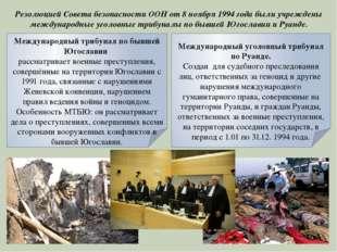 Резолюцией Совета безопасности ООН от 8 ноября 1994 года были учреждены межд