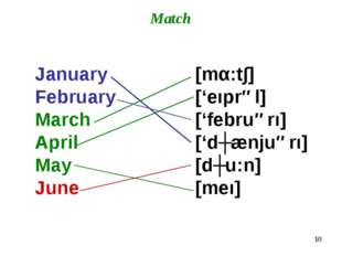* Match January February March April May June [mα:t∫] ['eıprəl] ['februərı] [