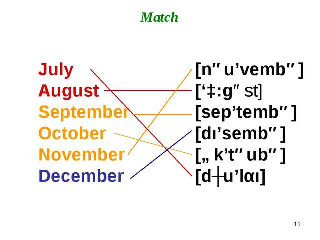 * Match July August September October November December [nəu'vembə] ['ɔ:gəst]...