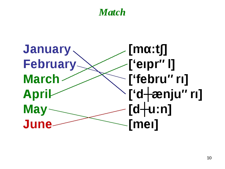 * Match January February March April May June [mα:t∫] ['eıprəl] ['februərı] [...