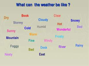 What can the weather be like ? Book Bad Cold Frosty Hot Rainy River Windy Sun