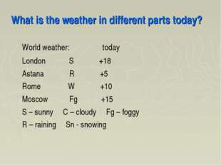 What is the weather in different parts today? World weather: today London S +