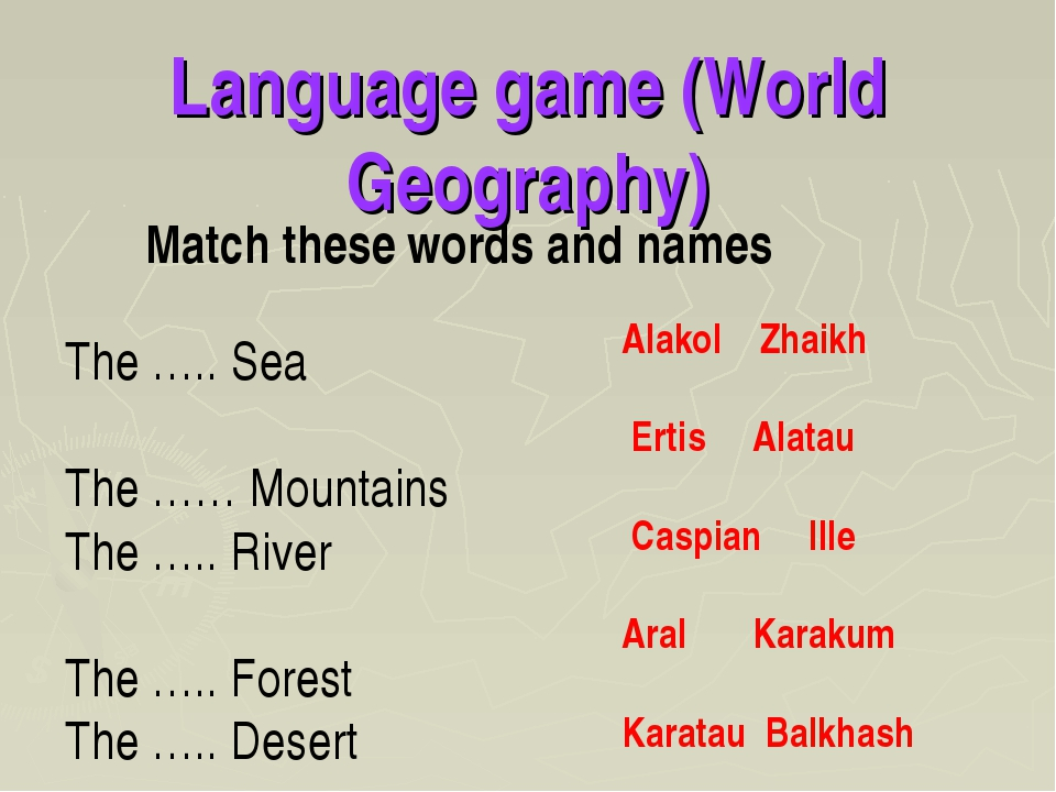 Language game (World Geography) Match these words and names The ….. Sea The …...