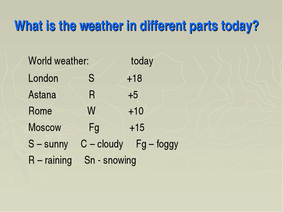 What is the weather in different parts today? World weather: today London S +...