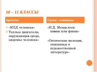 10 – 11 КЛАССЫ «КПД человека» Теплые двигатели, окружающая среда, здоровье че