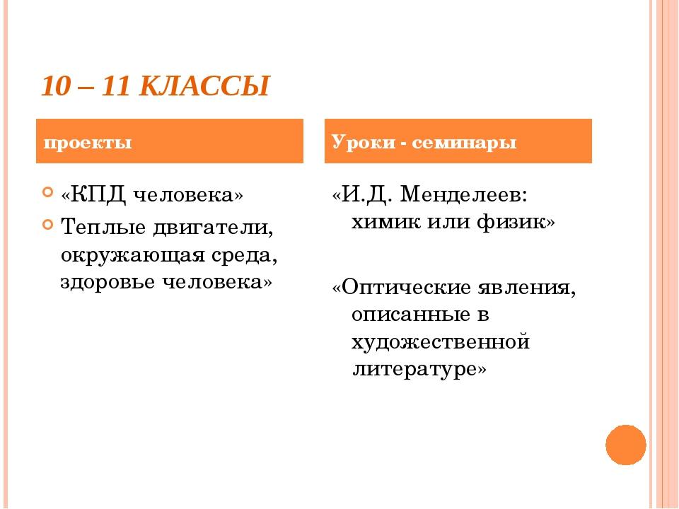10 – 11 КЛАССЫ «КПД человека» Теплые двигатели, окружающая среда, здоровье че...