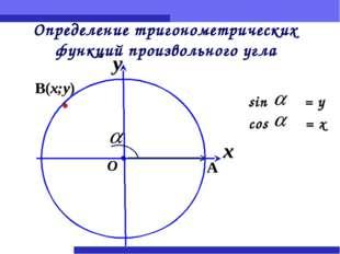 Определение тригонометрических функций произвольного угла sin = y cos = x x y