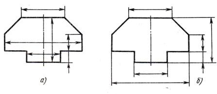Рис. 35. Примеры правильного и ошибочного расположения размерных линий