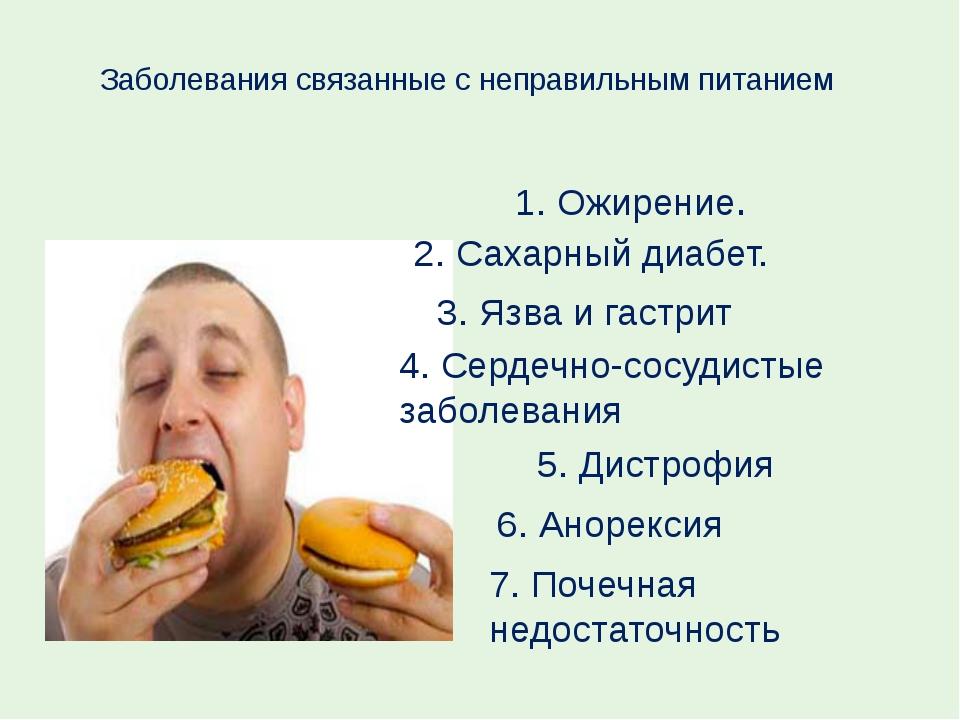 Заболевания связаны с неправильным питанием