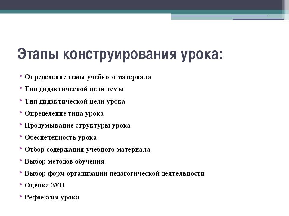 Этапы конструирования урока: Определение темы учебного материала Тип дидактич...