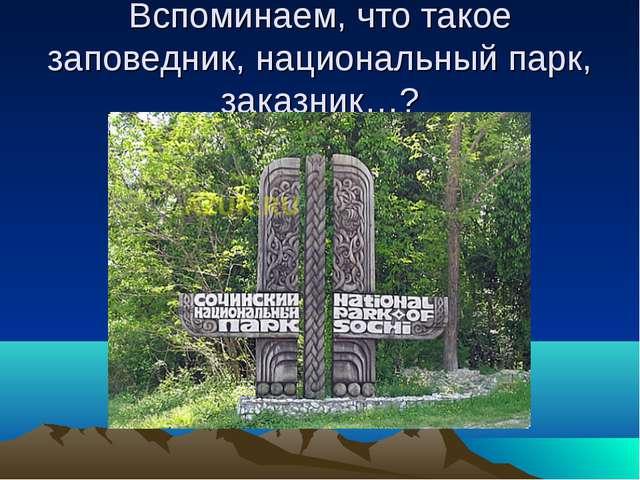 Вспоминаем, что такое заповедник, национальный парк, заказник…?
