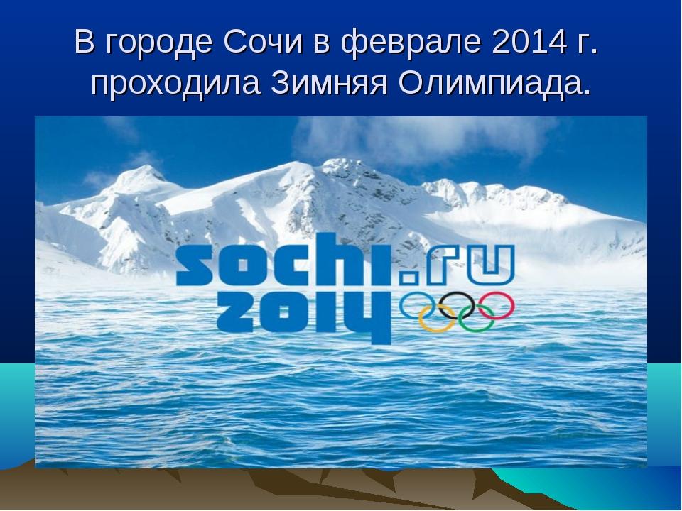 В городе Сочи в феврале 2014 г. проходила Зимняя Олимпиада.