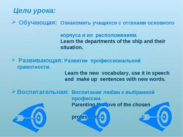 Цели урока: Обучающая: Ознакомить учащихся с отсеками основного корпуса и их...