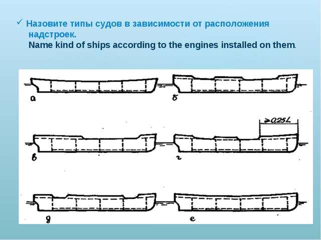 Назовите типы судов в зависимости от расположения надстроек. Name kind of shi...