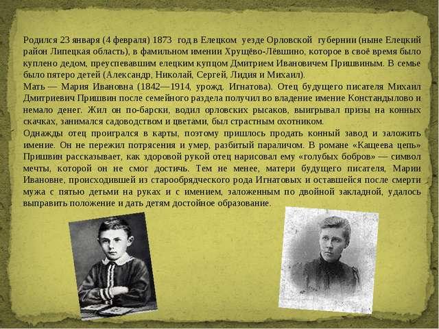 Родился23января(4февраля)1873 годвЕлецком уездеОрловской губернии(ны...