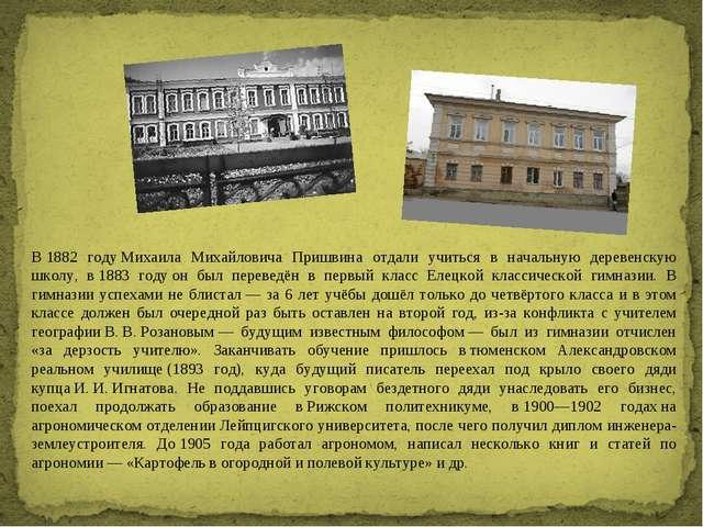 В1882 годуМихаила Михайловича Пришвина отдали учиться в начальную деревенск...