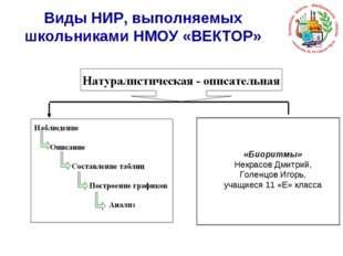 Виды НИР, выполняемых школьниками НМОУ «ВЕКТОР» «Биоритмы» Некрасов Дмитрий,
