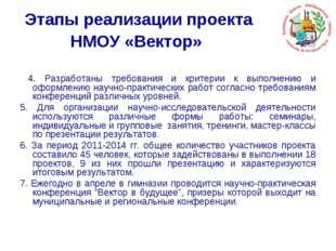 Этапы реализации проекта НМОУ «Вектор» 4. Разработаны требования и критерии к