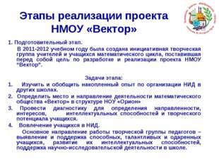 Этапы реализации проекта НМОУ «Вектор» 1. Подготовительный этап. В 2011-2012