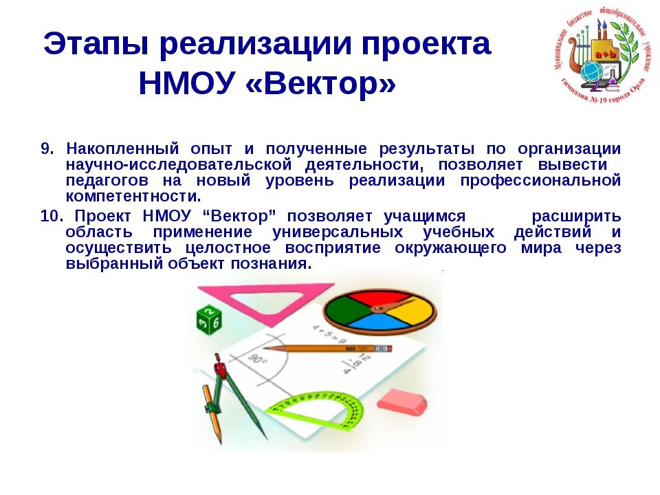 Этапы реализации проекта НМОУ «Вектор» 9. Накопленный опыт и полученные резул...