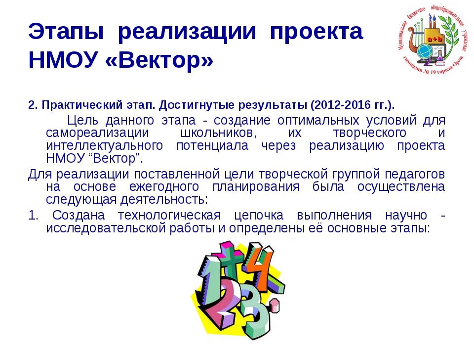 Этапы реализации проекта НМОУ «Вектор» 2. Практический этап. Достигнутые резу...