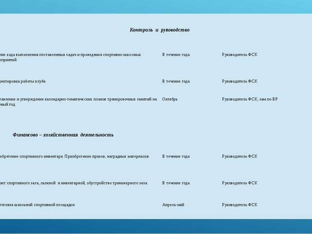 Контроль и руководство 1 Анализ хода выполнения поставленных задач и пр...