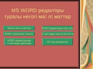 MS WORD редакторы туралы негізгі мағлұматтар Жалпы мағлұматтар WORD редактор