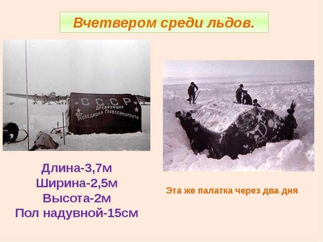 Вчетвером среди льдов. Эта же палатка через два дня Длина-3,7м Ширина-2,5м Вы...