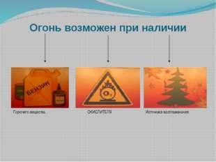 Огонь возможен при наличии Горючего вещества ОКИСЛИТЕЛЯ Источникавоспламенения