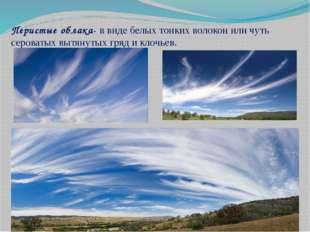 Перистые облака- в виде белых тонких волокон или чуть сероватых вытянутых гря