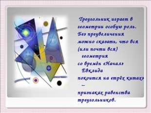 Треугольник играет в геометрии особую роль. Без преувеличения можно сказать,