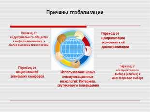 Причины глобализации Переход от индустриального общества к информационному, к