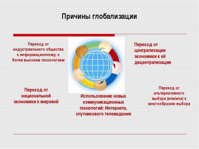 Причины глобализации Переход от индустриального общества к информационному, к...
