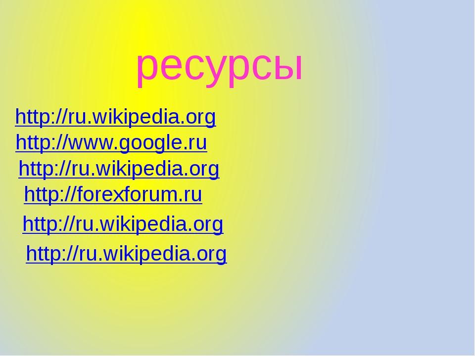 http://forexforum.ru http://ru.wikipedia.org http://www.google.ru http://ru.w...