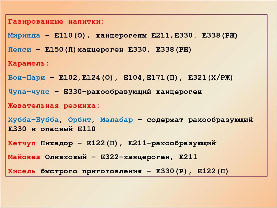 Газированные напитки: Миринда – Е110(О), канцерогены Е211,Е330. Е338(РЖ) Пепс...