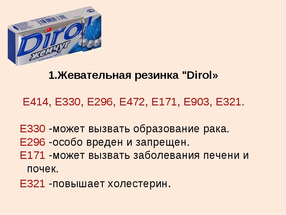"""Жевательная резинка """"Dirol» Е414, Е330, Е296, Е472, Е171, Е903, Е321. Е330 -м..."""