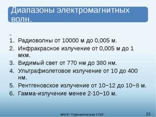 Радиоволны от 10000 м до 0,005 м. Инфракрасное излучение от 0,005 м до 1 мкм