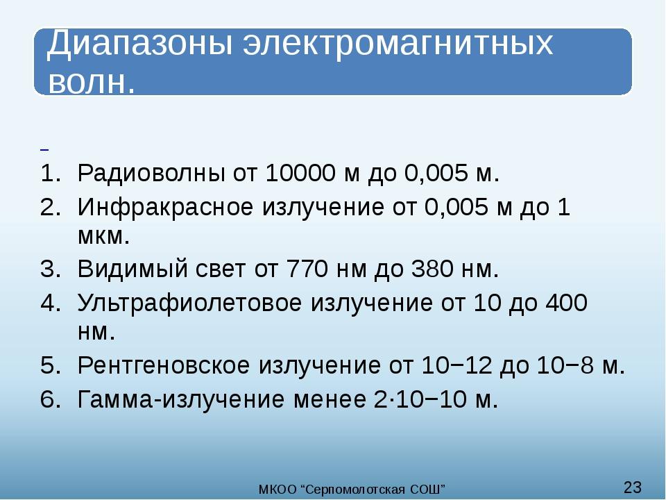 Радиоволны от 10000 м до 0,005 м. Инфракрасное излучение от 0,005 м до 1 мкм...