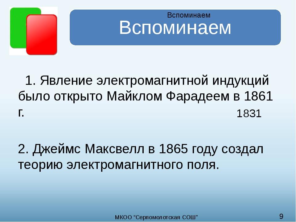 1. Явление электромагнитной индукций было открыто Майклом Фарадеем в 1861 г....
